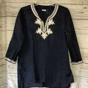 Symple NYC navy & white linen tunic